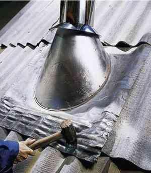 Как заделать печную трубу в шифере