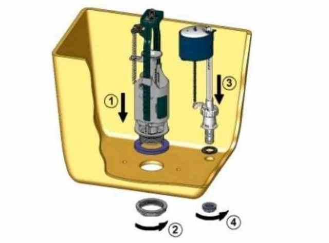 Как установить запорную арматуру в сливной бачок